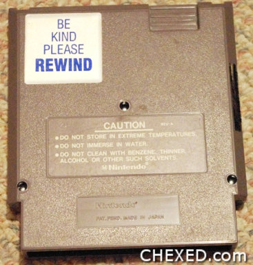 Be Kind Please Rewind on a NES Game Cartridge