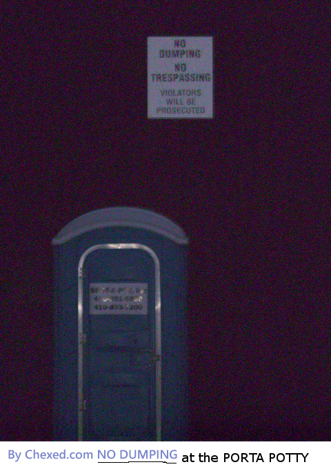 No Dumping Porta Potty